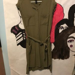 HM Cotton Army Green Dress with Pockets